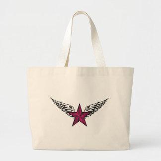 estrella rosada con las alas bolsa tela grande