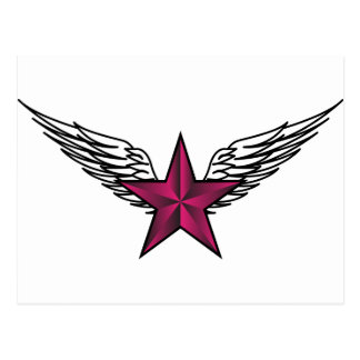 estrella rosada con las alas tarjetas postales