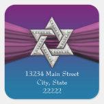 Estrella rosada de la plata de la cinta de David Calcomania Cuadradas Personalizadas