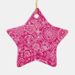 Estrella rosada de Paisley Adorno