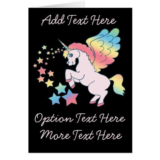 Estrella rosada del arco iris del unicornio felicitación