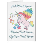 Estrella rosada del arco iris del unicornio tarjetas
