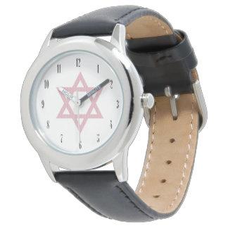 Estrella rosada del David-Judaísmo Relojes