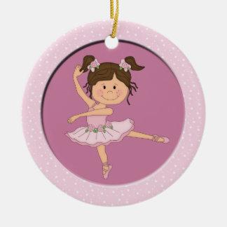 Estrella rosada linda del ballet de la bailarina 1 ornamento para arbol de navidad