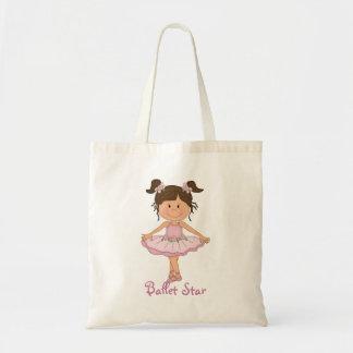 Estrella rosada linda del ballet de la bailarina 3 bolsa tela barata