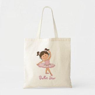 Estrella rosada linda del ballet de la bailarina 4 bolsas lienzo
