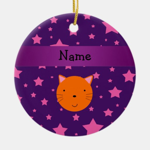 Estrella rosada púrpura personalizada de la cara a adorno de navidad