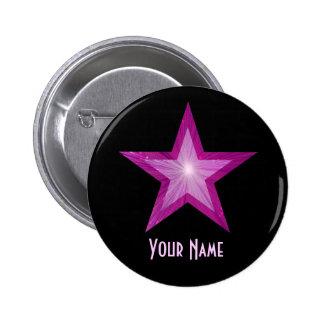 """Estrella rosada """"su"""" negro conocido del botón pin redondo de 2 pulgadas"""