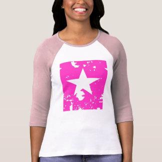 Estrella rosada y blanca abstracta playera