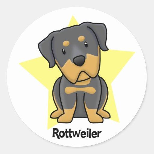 Estrella Rottweiler de Kawaii Pegatina Redonda