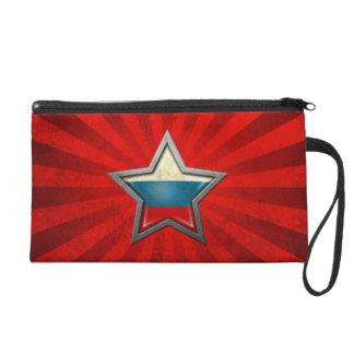 Estrella rusa de la bandera con los rayos de la lu