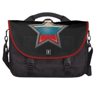 Estrella rusa de la bandera en negro bolsas de portátil