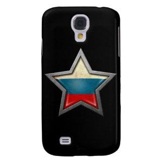 Estrella rusa de la bandera en negro funda para galaxy s4