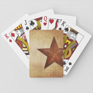 Estrella rústica del granero baraja de póquer