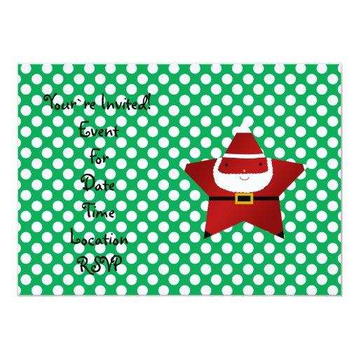 Estrella santa con los lunares verdes y rojos invitación 12,7 x 17,8 cm