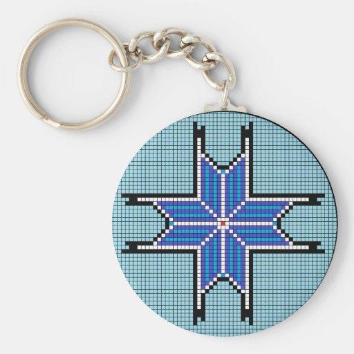 Estrella señalada del azul 8 llavero redondo tipo pin