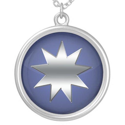 Estrella señalada nueve colgante redondo