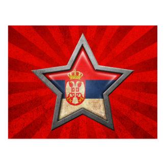 Estrella servia de la bandera con los rayos de la  tarjeta postal