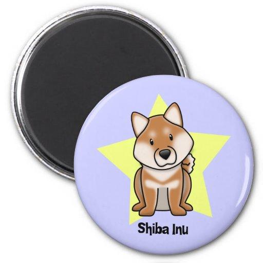 Estrella Shiba Inu de Kawaii Imán Redondo 5 Cm