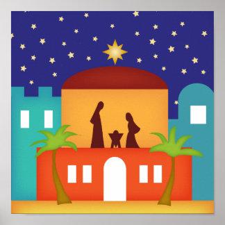 Estrella sobre natividad del navidad de Belén Poster