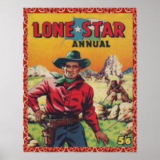 Estrella solitaria del vaquero occidental del póster
