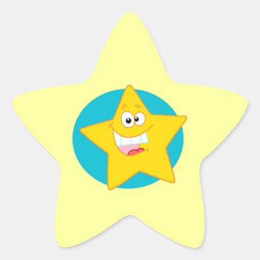 estrella sonriente feliz linda del dibujo animado pegatina en forma de estrella
