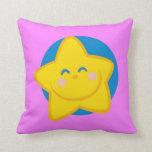Estrella sonriente linda, almohada rosada