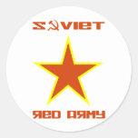 Estrella soviética 2 del ejército rojo etiqueta redonda