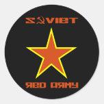 Estrella soviética 2 del ejército rojo etiquetas redondas