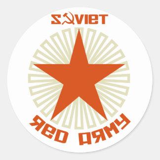 Estrella soviética del ejército rojo pegatina redonda