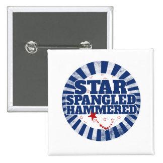 Estrella Spangled martillada Pin Cuadrado