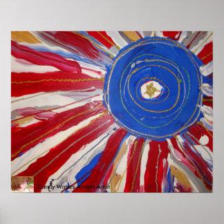 """Estrella-Spangled Sun"" por el artista del autismo Póster"