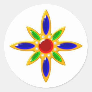 Estrella star broche brooch pegatina redonda