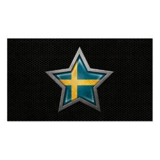 Estrella sueca de la bandera con el efecto de acer tarjetas de visita