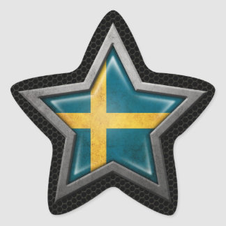 Estrella sueca de la bandera con el efecto de pegatina en forma de estrella