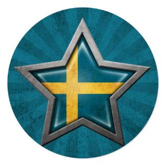 """Estrella sueca de la bandera con los rayos de la invitación 5.25"""" x 5.25"""""""