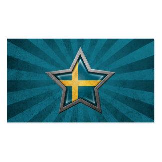 Estrella sueca de la bandera con los rayos de la l tarjetas de visita