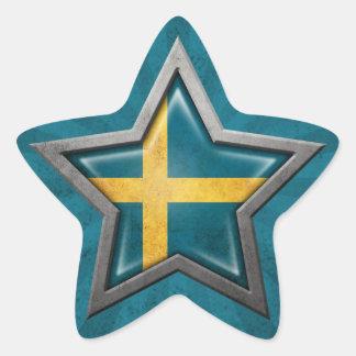 Estrella sueca de la bandera con los rayos de la pegatina en forma de estrella