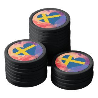 Estrella sueca de la bandera en Bokeh colorido Juego De Fichas De Póquer