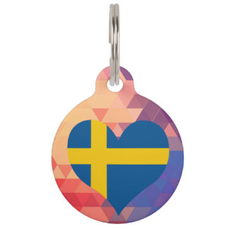 Estrella sueca de la bandera en Bokeh colorido Identificador Para Mascotas
