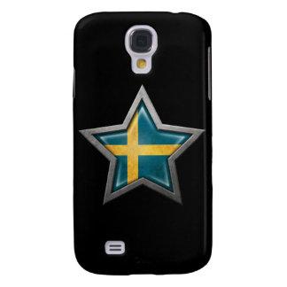 Estrella sueca de la bandera en negro funda para galaxy s4