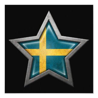 """Estrella sueca de la bandera en negro invitación 5.25"""" x 5.25"""""""