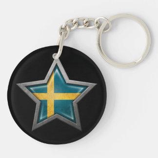 Estrella sueca de la bandera en negro llavero redondo acrílico a doble cara