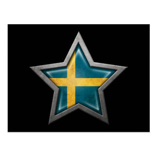 Estrella sueca de la bandera en negro postales