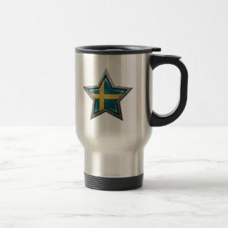 Estrella sueca de la bandera taza de viaje de acero inoxidable