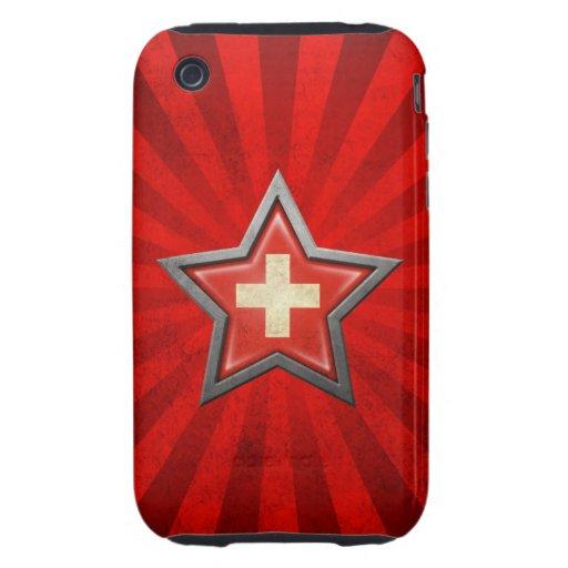 Estrella suiza de la bandera con los rayos de la l tough iPhone 3 cárcasa