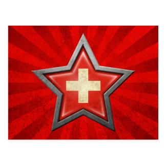 Estrella suiza de la bandera con los rayos de la l tarjetas postales