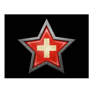 Estrella suiza de la bandera en negro postal