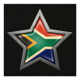 Estrella surafricana de la bandera con el efecto d comunicados personales