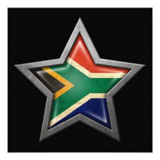 Estrella surafricana de la bandera en negro invitacion personal